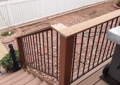 wood banister and custom deck