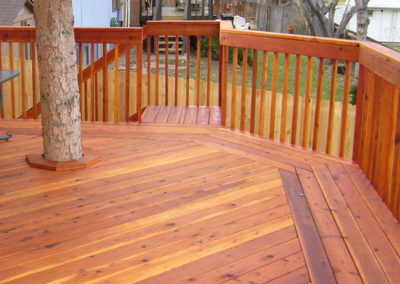 multi-colored wood deck