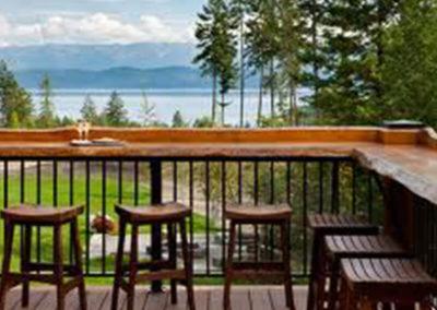 custom wood railing on deck